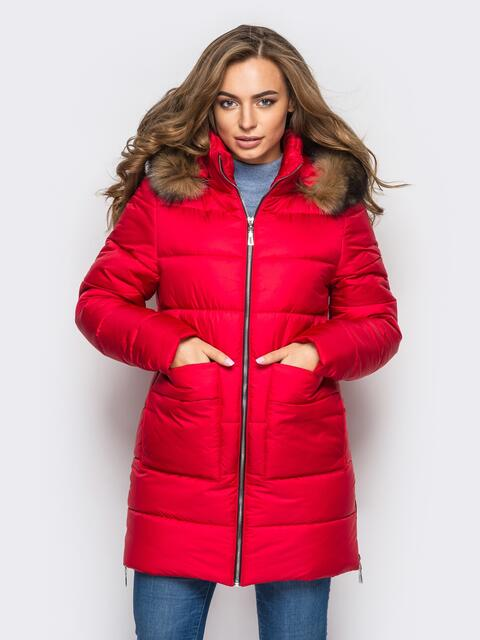 Зимняя куртка красного цвета с функциональными молниями по бокам 15250, фото 1