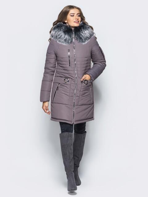 Зимняя куртка с молниями в боковых швах сиреневая - 16713, фото 1 – интернет-магазин Dressa