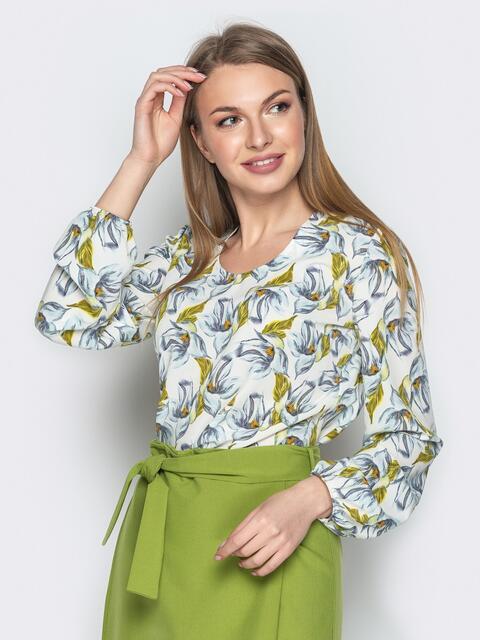 Белая принтованная блузка с манжетом на резинке - 20818, фото 1 – интернет-магазин Dressa