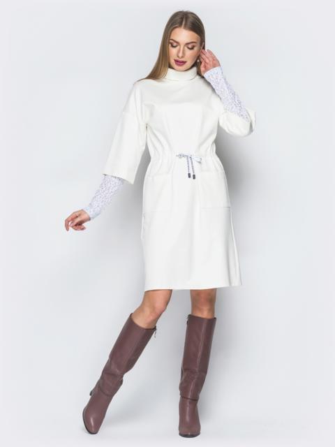 Белое платье с кулиской на талии - 19084, фото 1 – интернет-магазин Dressa
