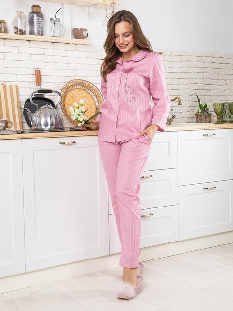 """Брючная пижама с авторским принтом """"слоненок"""" розовая - 20428, фото 1 – интернет-магазин Dressa"""
