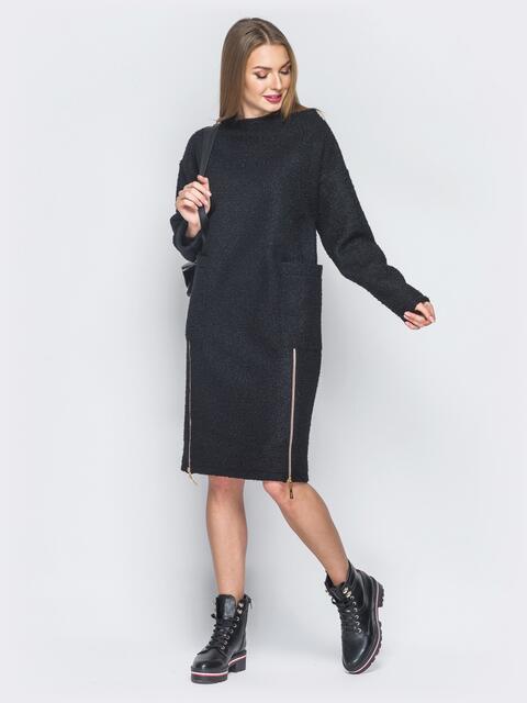 Черное платье из букле с накладными карманами - 19083, фото 1 – интернет-магазин Dressa