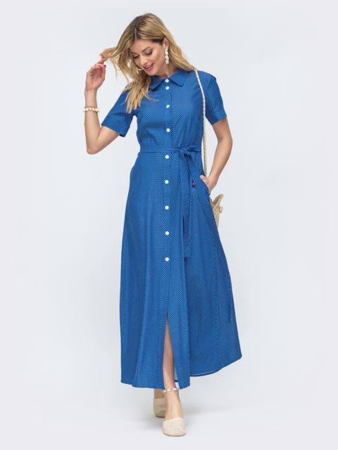 Длинное платье-рубашка в горох синее 46768, фото 1