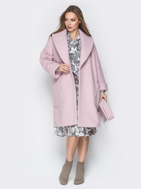 Розовое пальто на запах с накладными карманами - 19406, фото 1 – интернет-магазин Dressa