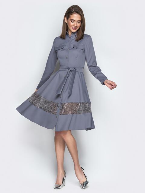 Серое платье-рубашка с юбкой-полусолнце и карманами - 21379, фото 1 – интернет-магазин Dressa