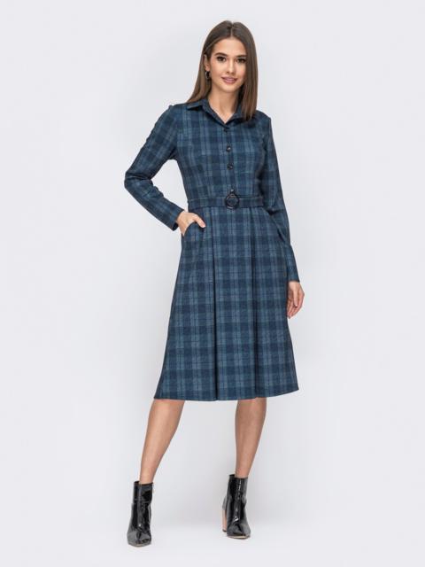 Тёмно-синее платье в клетку с расклешенной юбкой - 44126, фото 1 – интернет-магазин Dressa