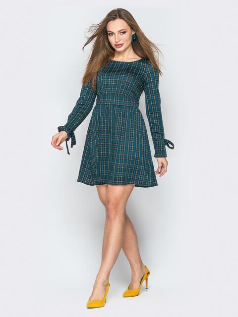 Зелёное платье-мини в клетку с завышенной талией - 20198, фото 1 – интернет-магазин Dressa