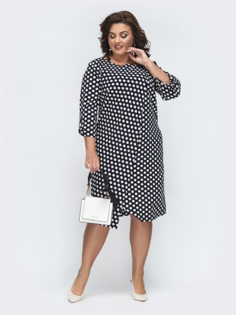 Асимметричное платье батал с принтом чёрное 45130, фото 1