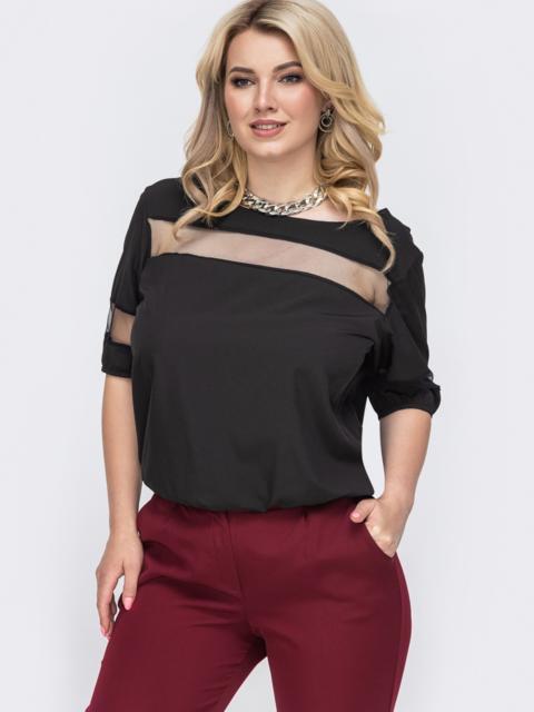 Чёрная блузка батал со вставками из фатина по груди 49899, фото 1