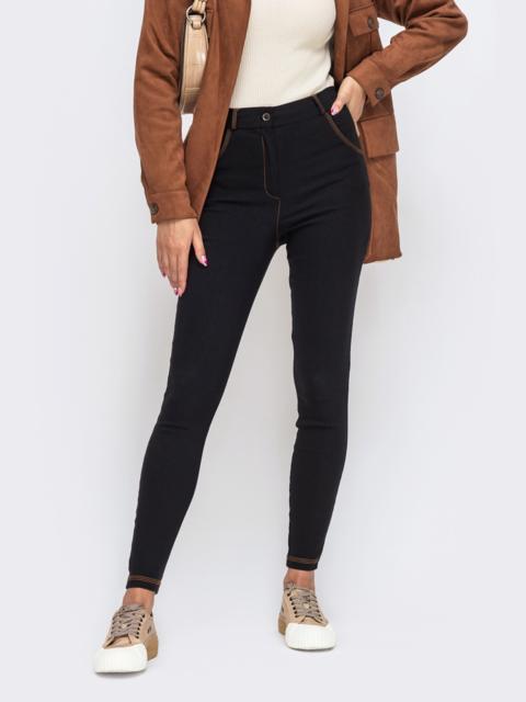 Чёрные брюки-скинни с завышенной талией 50349, фото 1