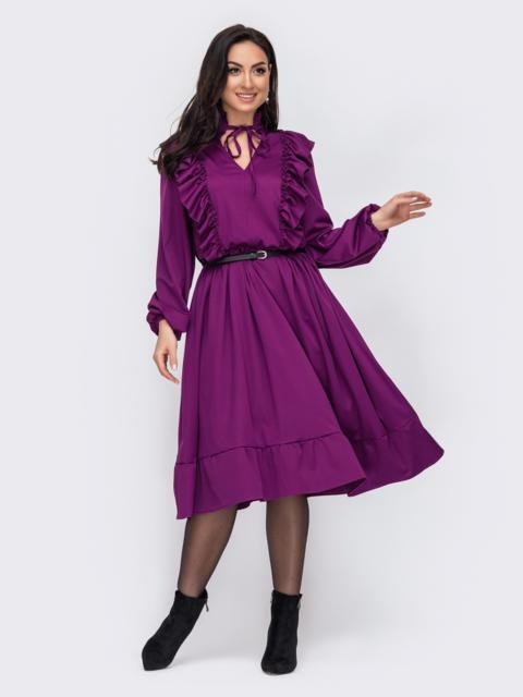 Фиолетовое платье батал с оборками по полочке 52745, фото 1