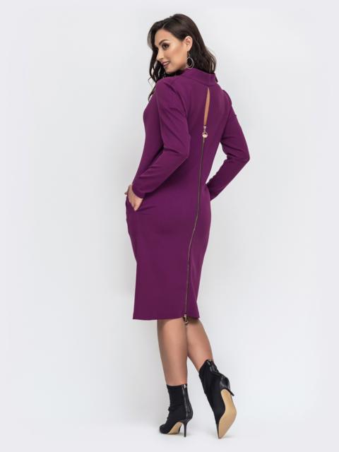 Фиолетовое платье большого размера с воротником-хомут 44422, фото 1