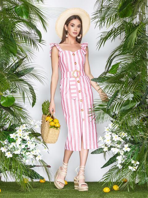 Хлопковое платье в широкую полоску на пуговицах красное - 22198, фото 1 – интернет-магазин Dressa