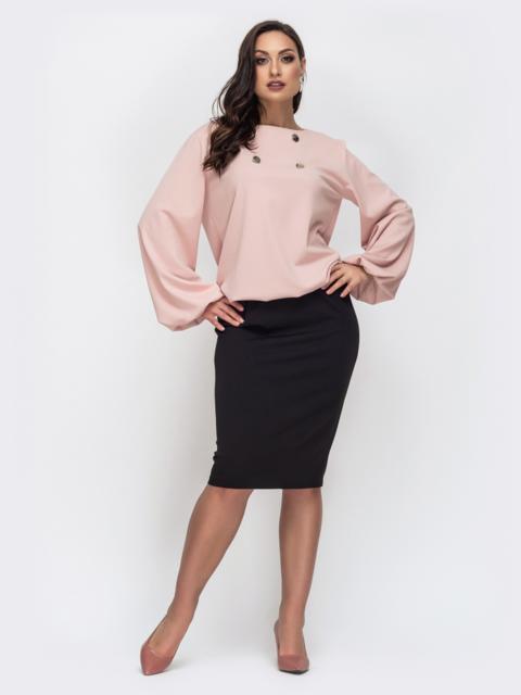 Комплект большого размера с блузкой пудрового цвета 44420, фото 1