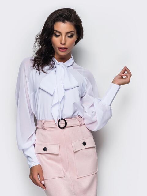 Легкая блузка из креп-шелка с воротником аскот - 12355, фото 1 – интернет-магазин Dressa