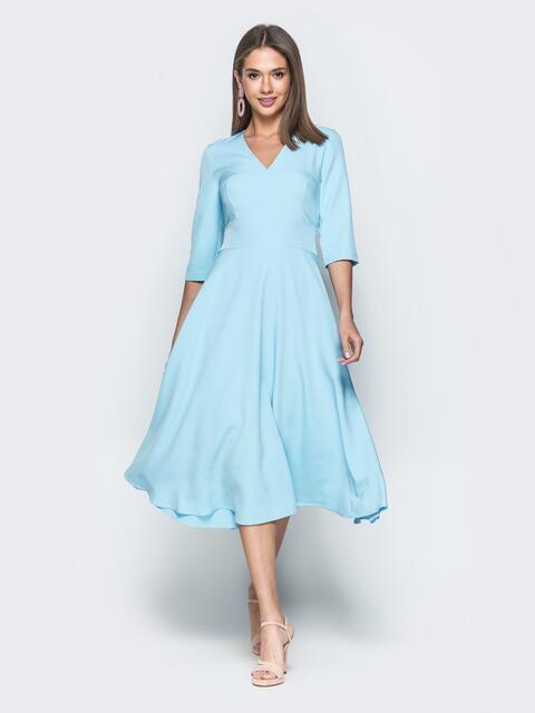 Платье голубого цвета с юбкой-полусолнце - 38900, фото 1 – интернет-магазин Dressa