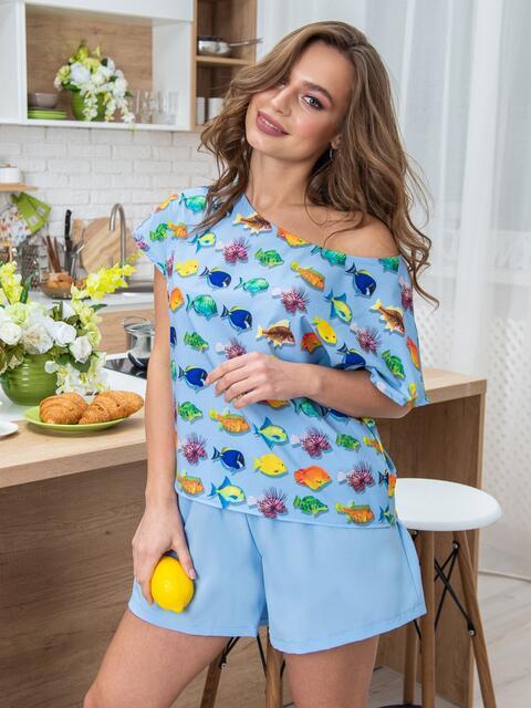 Принтованная пижама из софта с шортами голубая - 20421, фото 1 – интернет-магазин Dressa