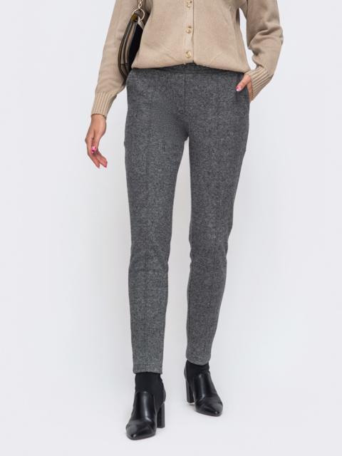Серые брюки из жаккарда с простроченными стрелками 50348, фото 1