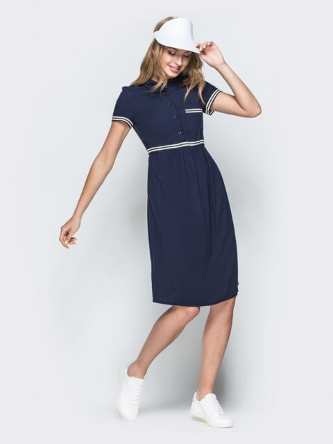 Тёмно-синее платье-рубашка с накладным карманом 38539, фото 1