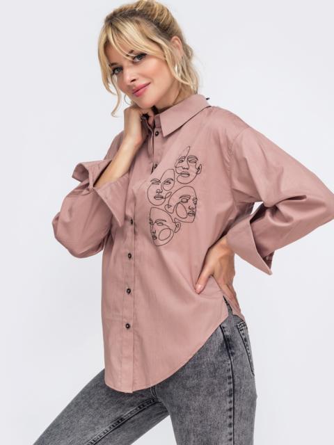 """Бежевая рубашка с вышивкой """"лица"""" 49468, фото 4"""