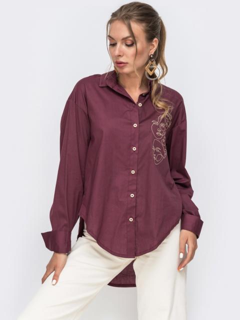 """Бордовая рубашка с вышивкой """"лица"""" 49469, фото 1"""