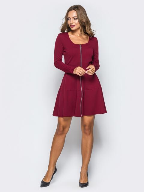 Бордовое платье-мини со змейкой спереди - 16280, фото 1 – интернет-магазин Dressa