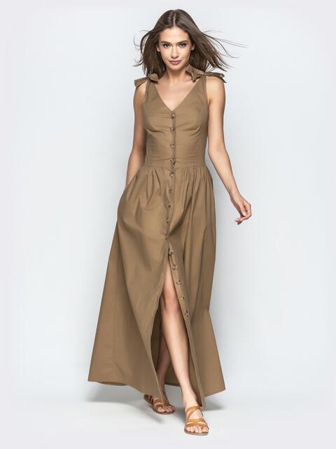 ae9aec96334 Коричневое платье-макси приталенного кроя на пуговицах - 22196