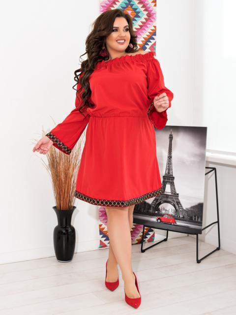 Красное платье батал с открытыми плечами - 47639, фото 1 – интернет-магазин Dressa