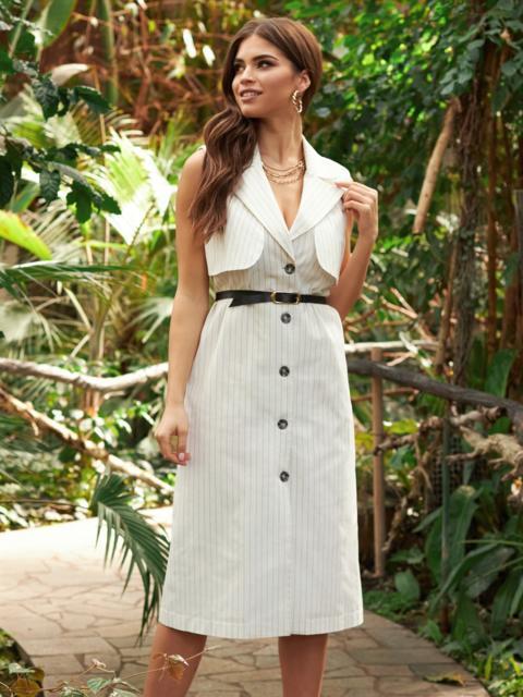 Льняное платье-пиджак молочного цвета в узкую полоску 53666, фото 1