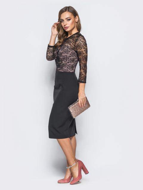 Платье из костюмной ткани с верхом из гипюра черное - 18171, фото 1 – интернет-магазин Dressa