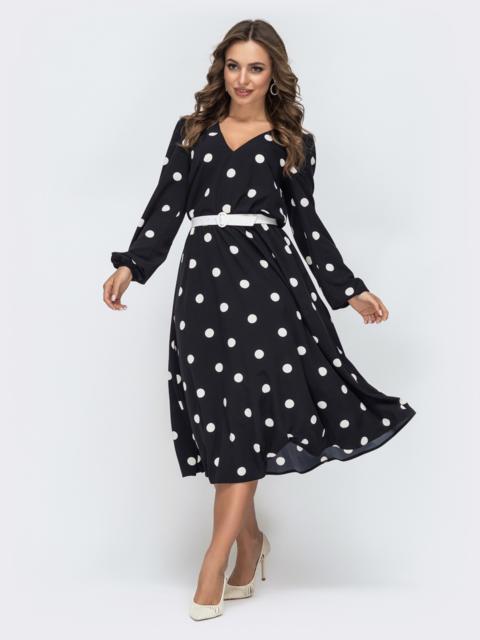 Платье в горох с резинкой по талии чёрное - 45073, фото 1 – интернет-магазин Dressa