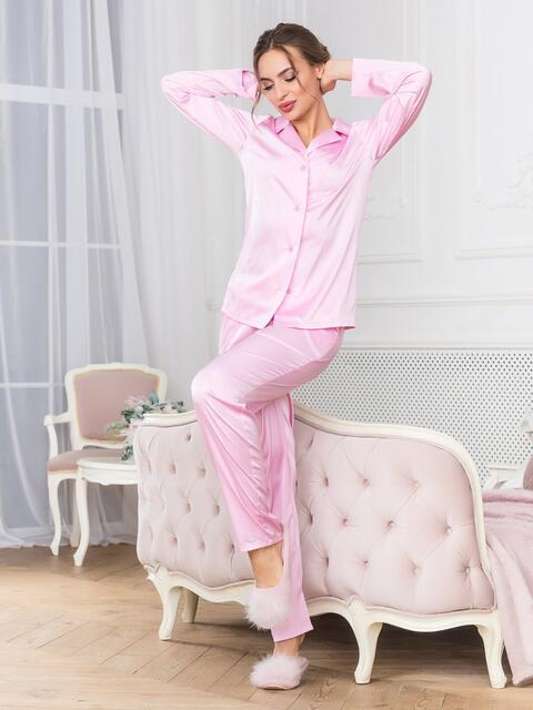 Розовая пижама с рубашкой и брюками - 18948, фото 1 – интернет-магазин Dressa