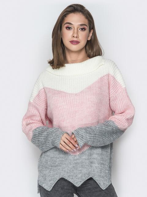 Серый свитер oversize с V-образными вставками - 20126, фото 1 – интернет-магазин Dressa