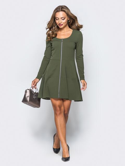 Зеленое платье-мини со змейкой спереди - 16281, фото 1 – интернет-магазин Dressa