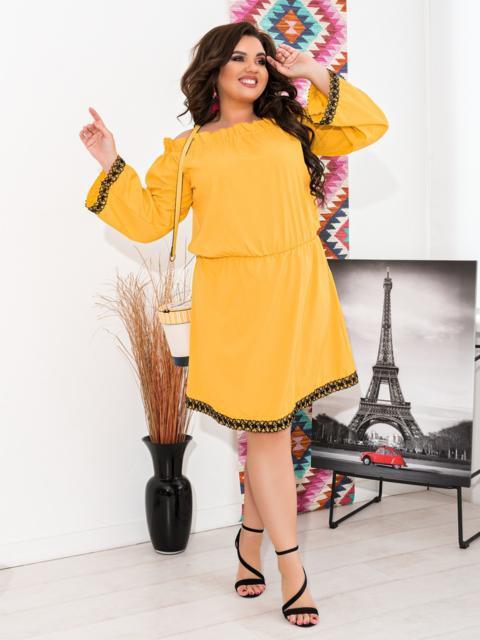Желтое платье батал с открытыми плечами - 47638, фото 1 – интернет-магазин Dressa