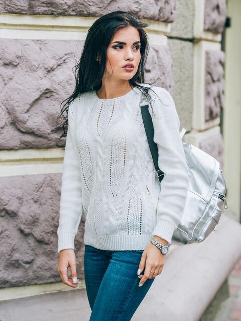 Джемпер с манжетами и низом на резинке светло-серый - 13099, фото 1 – интернет-магазин Dressa