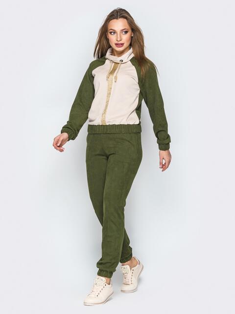 Комплект цвета хаки с воротником-хомут на кофте - 19795, фото 1 – интернет-магазин Dressa