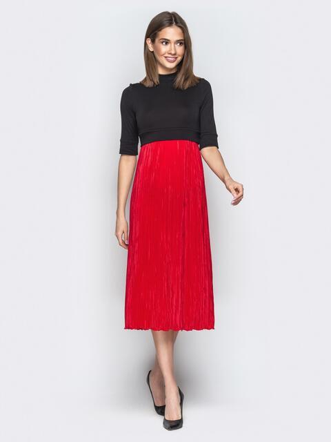 48002f8131f Красное платье с завышенной талией и юбкой-плиссе - 20985