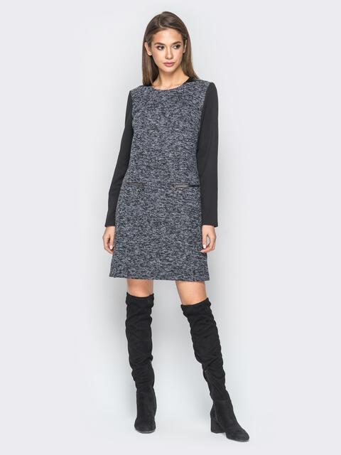Платье из букле со вставками из эко-кожи черное - 18290, фото 1 – интернет-магазин Dressa