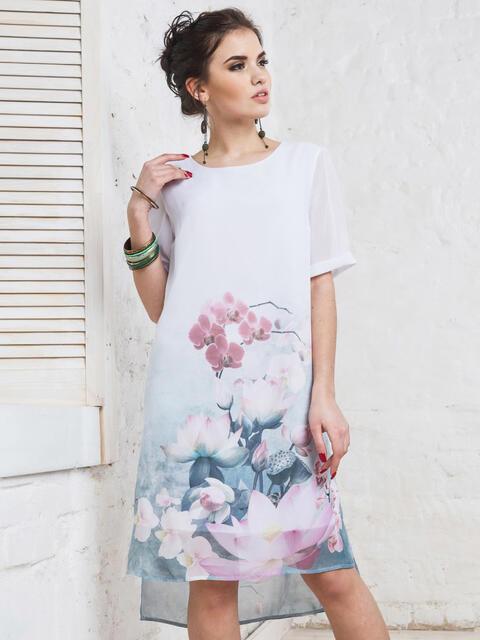 Платье из шифона с принтом - 11641, фото 1 – интернет-магазин Dressa