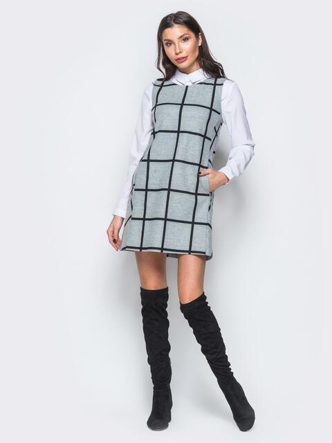 Платье светло-серого цвета А-силуэта с карманами - 17669, фото 1 – интернет-магазин Dressa