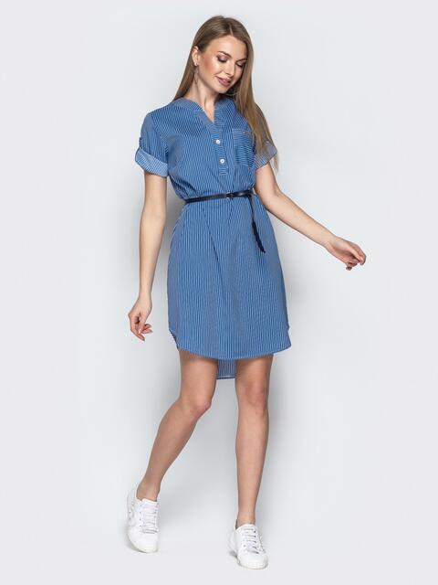 Синее платье-рубашка в полоску с удлиненной спинкой - 21170, фото 1 – интернет-магазин Dressa