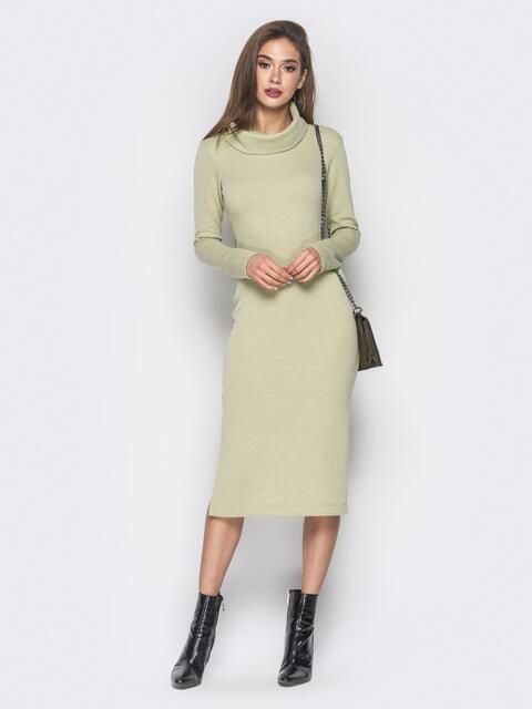 3e0a95b89d55b7e Зеленое платье-гольф с разрезом сбоку - 18674, фото 1 – интернет-магазин