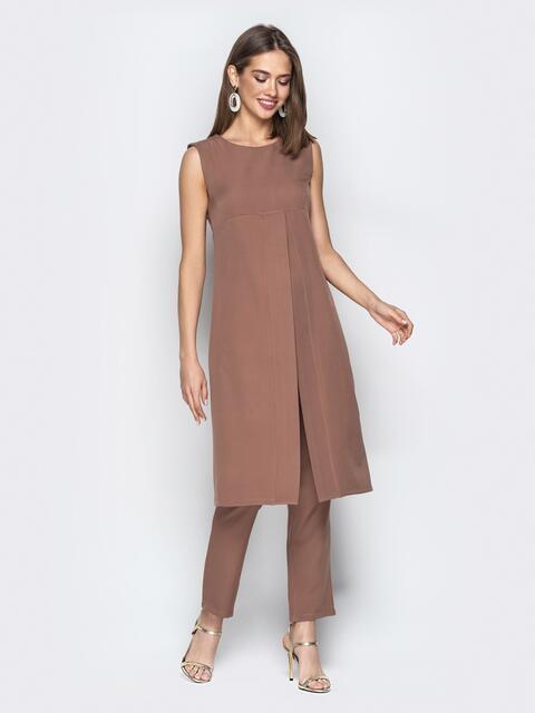 Бежевый комплект из брюк и платья с завышенной талией - 20791, фото 1 – интернет-магазин Dressa