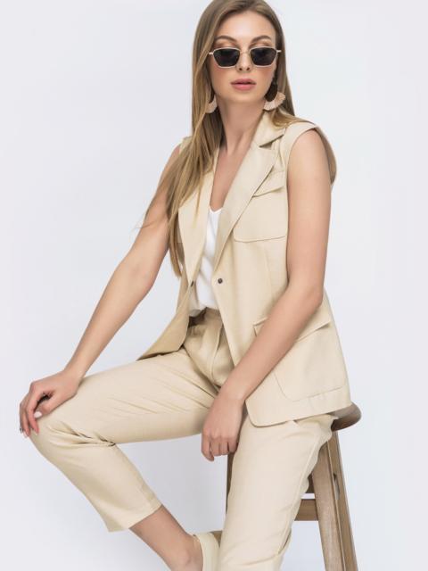 Бежевый комплект из жилета и брюк - 46611, фото 1 – интернет-магазин Dressa