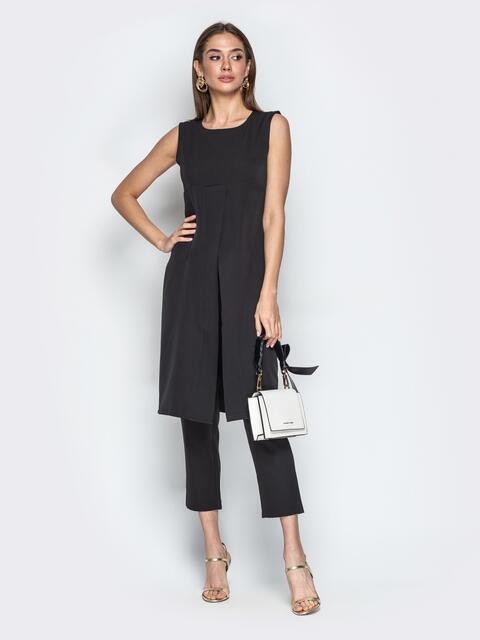 Чёрный комплект из брюк и платья с завышенной талией 20790, фото 1