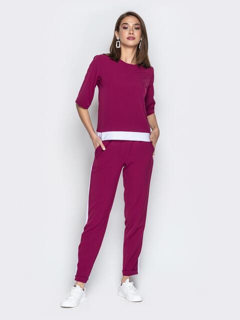 Фиолетовый комплект из кофты и брюк с лампасами - 20341, фото 1 – интернет-магазин Dressa
