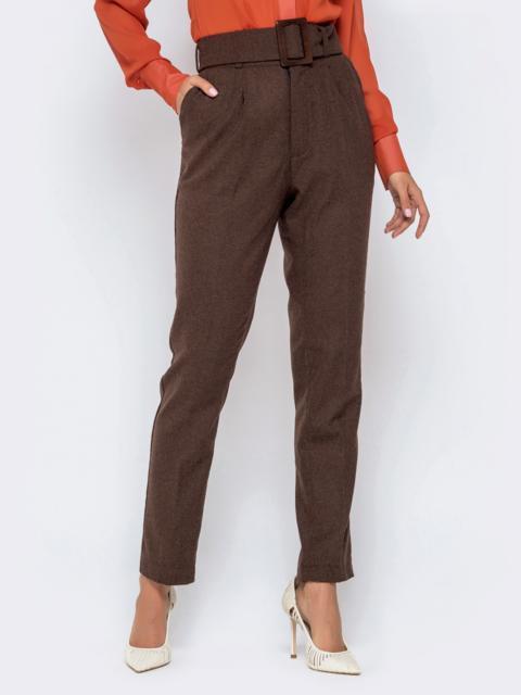 Коричневые брюки-каррот с широким поясом - 40980, фото 1 – интернет-магазин Dressa