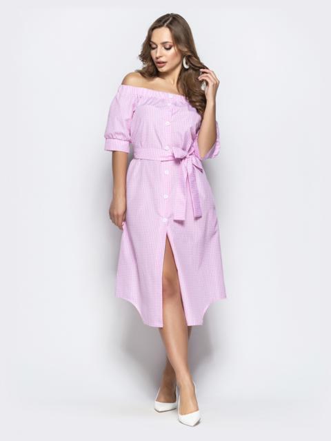 Коттоновое платье в клетку с открытыми плечами розовое - 21477, фото 1 – интернет-магазин Dressa