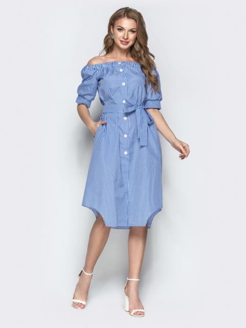 Коттоновое платье в клетку с открытыми плечами синее - 21479, фото 1 – интернет-магазин Dressa